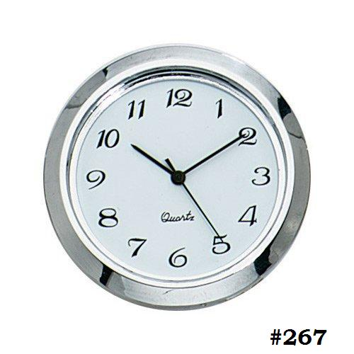 "Mini Clock Quartz Movement Insert Round 1 7/16"" Silver Tone"