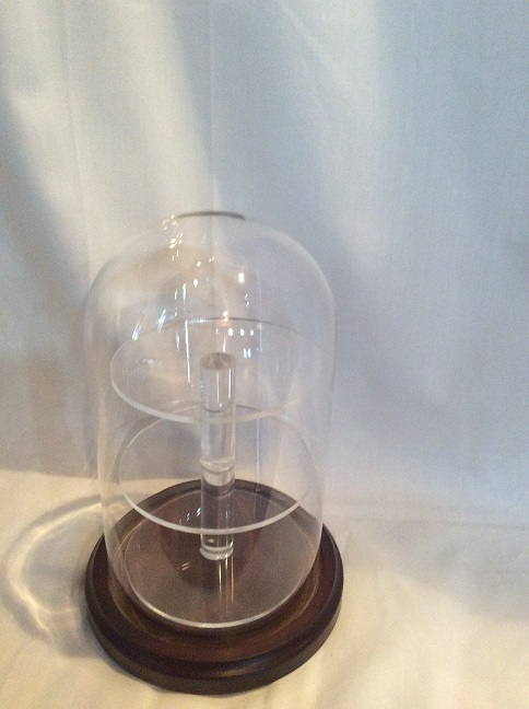 "4""x7"" Glass dome with 3 shelf acrylic insert w/ walnut base"
