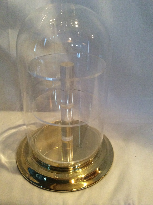 "5.5""x11"" Glass dome w/3 tall shelf acrylic insert w/ brass base"