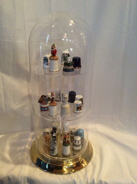 Lg. Glass Display Dome for TALL Collectible Thimbles w/Brass
